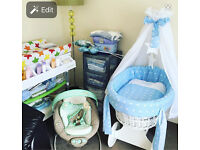 NEARLY NEW MOSES BASKET WITH DRAPES