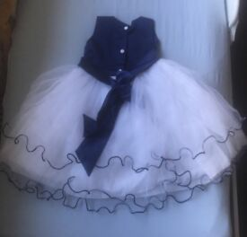 Girls Butterfly Blue and White Dress