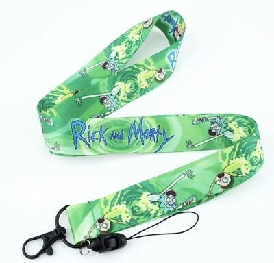 New!! Rick and Morty Lanyard Green Keychain Characters - Green Lanyards