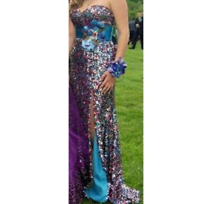 BEAUTIFUL MULTI COLOR SEQUENCE PROM DRESS
