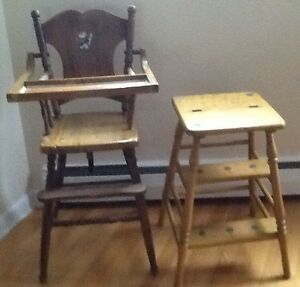 ANTIQUE WOODEN HIGH CHAIR  also ANTIQUE STEP STOOL available. A
