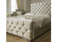 Double silver crushed velvet bed with 10 inch memory foam/ Orthopaedic mattress