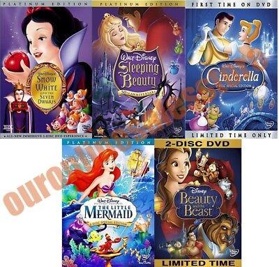 Disney Classic Princesses (Walt Disney Movies All Complete 5 Classic Princesses DVD Set Collection Kids)