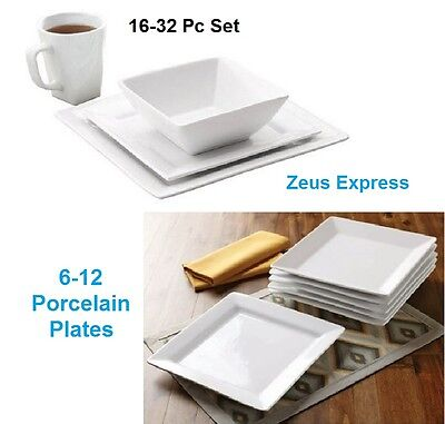 White Square 16-32 Piece Porcelain Dinnerware Bowl Mug Set or 6-12 Dinner (Oven Safe Square Bowls)