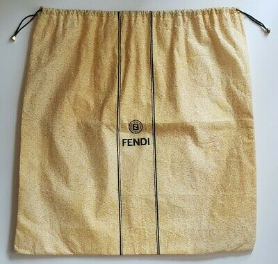 FENDI Authentic Vintage 1980s Yellow Drawstring Purse Dust Bag Cover for Storage