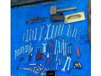 Various hand tools, spanners, stiltons vintage plane.