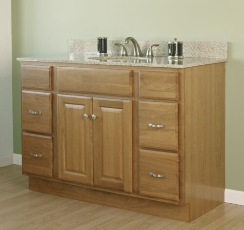 48 X 21 Craftsman Oak Bathroom Vanity Cabinet 2 Door 4 Drawer Base Only