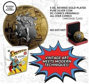 DC Comics Superman All Star Comics $50 Gold-Plated Silver Coin