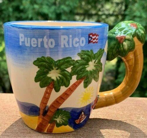 Puerto Rico Coffee Mug Palm Tree Ocean 3D Palm Tree Handle