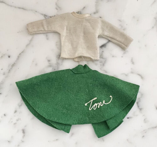 Vintage Green Felt Circle Skirt Outfit For Toni Doll By American Character 10  - $25.00