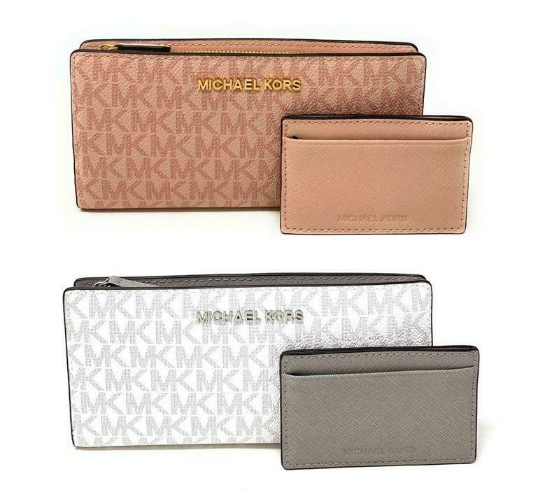 Michael Kors Jet Set Travel Large Card Case Carryall Leather Wallet $198 Clothing, Shoes & Accessories