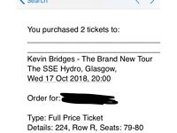 2x Kevin bridges tickets SSE HYRDO, Wed 17th oct