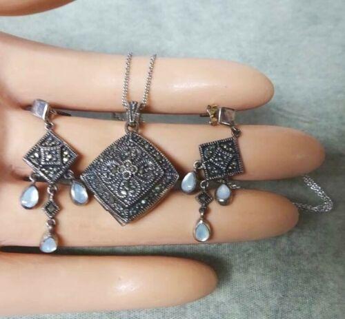 Vintage Sterling Silver Marcasite Perfume Locket Necklace & Pierced Earrings Set