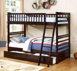True Contemporary Fraser Espresso Twin over Twin Bunk Bed with Storage Drawers and Solid Wood in Canada