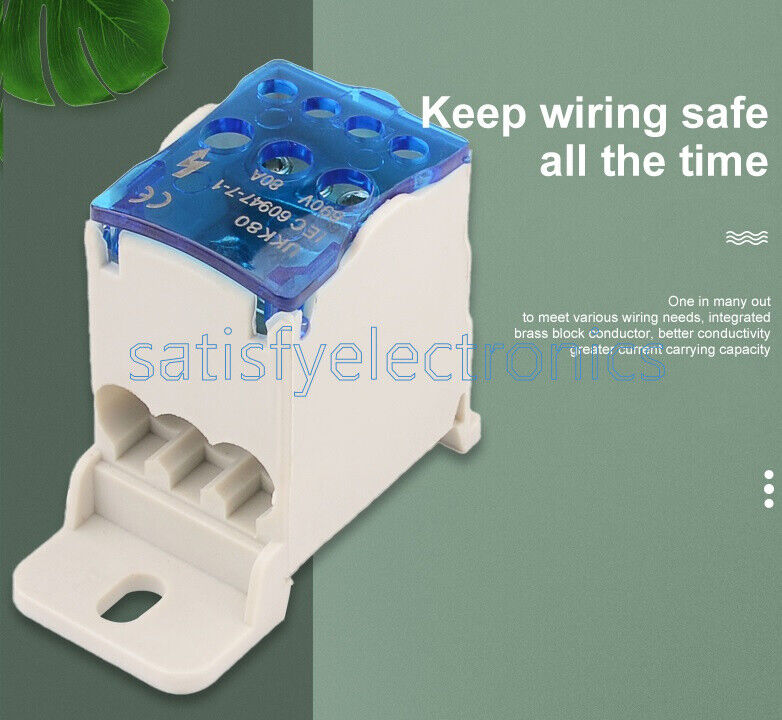 UKK 80A Din Rail Terminal Blocks One in several out Power Distribution Block Box