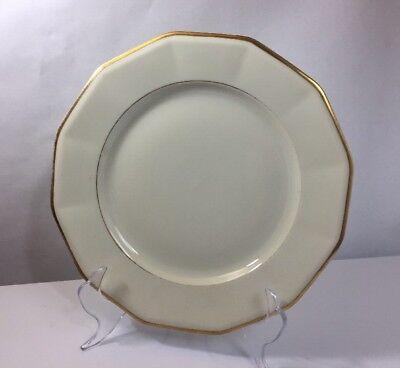 Fancy Black Knight Hammersmith Ivory Gold Rim Luncheon Plate 9 1 2  Dish