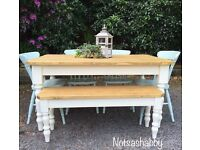 5FT STUNNING SOLID NEW HANDMADE PINE FARMHOUSE TABLE BENCH AND CHAIRS
