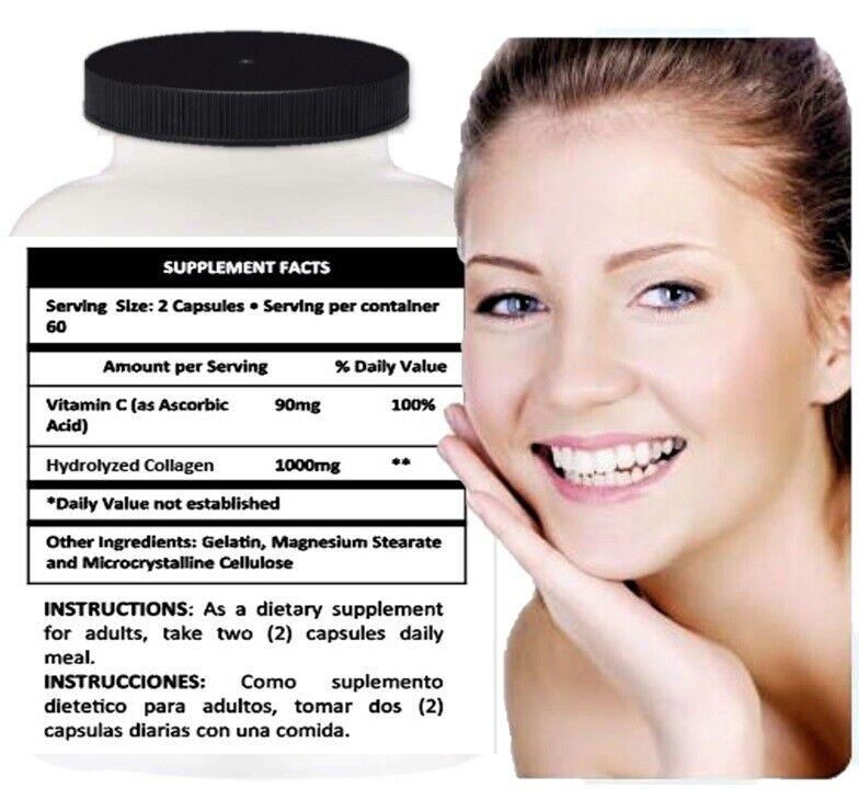 HYDROLYZED COLLAGEN POWDER CAPS PROTEIN Healthy Bones Joints Hair Skin Nails 120 4