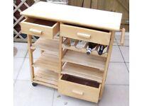 Wooden kitchen trolley / butcher's trolley