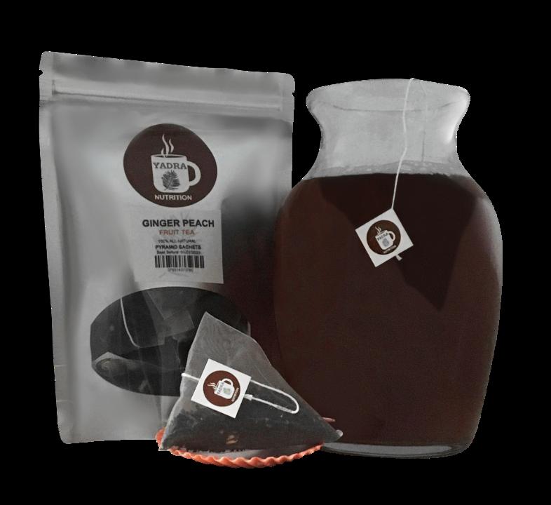 Ginger Peach Pyramid Sachets Herbal Loose Tea Contains Caffe