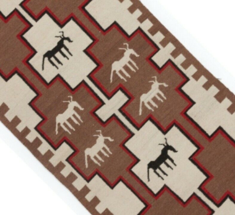 Navajo Style Rug Native American Indian Style Blanket Pictorial Horse Weaving
