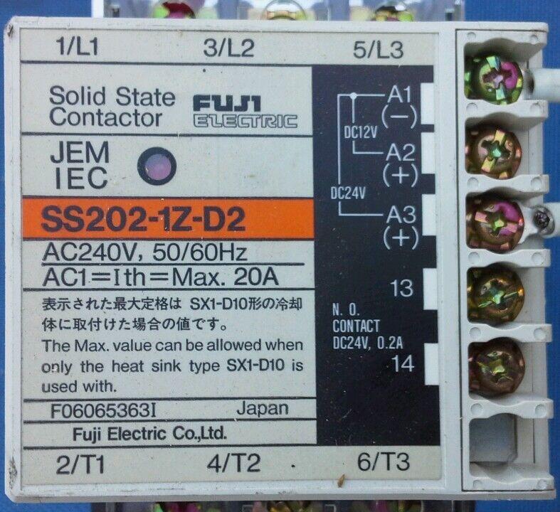 FUJI ELECTRIC SS202-1Z-D2 SOLID STATE CONTACTOR F06065363I w/ Heat Sink SX1-D10
