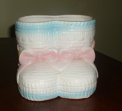 Vintage Ceramic Baby Bootie Planter Container for Nursery   1986 Baby Bootie Planter
