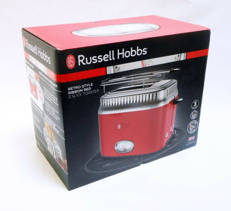 NEW RUSSELL HOBBS Retro Style 2-Slice Toaster   Red & Stainl
