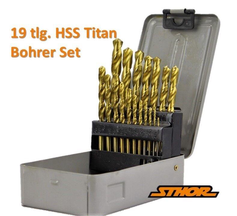 19 tlg TITAN HSS Spiralbohrer Satz 1-10mm Werkzeug Metallbohrer Bohrer Set HOT/_1