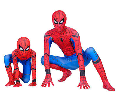 Hot US 3D Print Spider-Man Homecoming Adult & Kids Zentai Cosplay Costume Suit