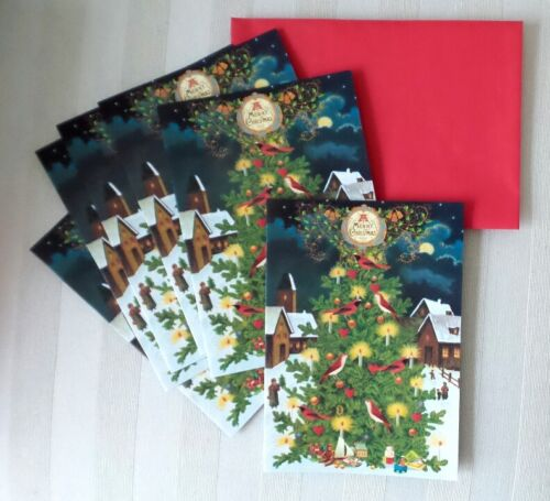 Lot SIX Christmas Cards Punch Studio AVIAN CHRISTMAS TREE with BIRD CANDLE TOY