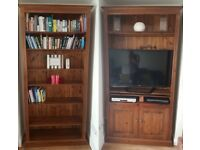 2 x Tall wood bookshelf / cupboard / TV cabinet / Shelves solid pine dark stained