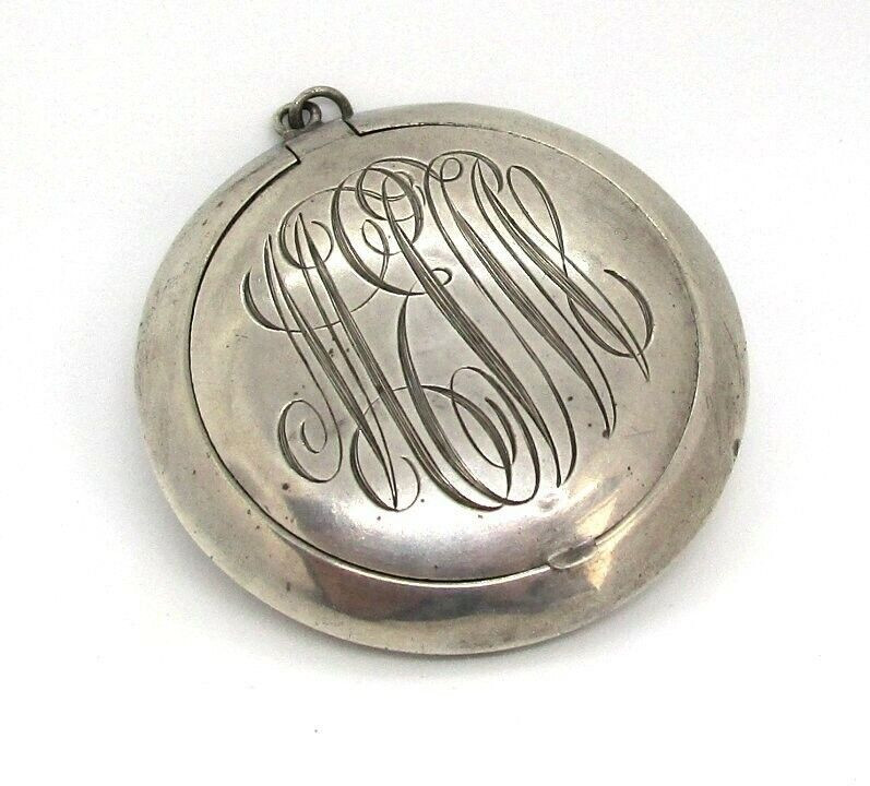 O.B. & H. Sterling Silver Pendant Compact / Pill Box with Mirror 19.4 grams