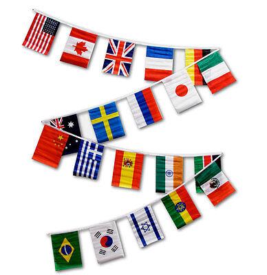 INTERNATIONAL STRING OF FLAGS 30 FEET PENNANTS NEW INTERNATIONAL COUNTRIES