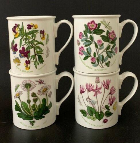"Set 4 Portmeirion Botanic Garden 3 5/8"" Breakfast Mugs Britain Daisy Heartsease"
