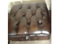 Thomas Lloyd , brown leather Chesterfield type footstool
