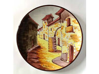 Spanish wall plate with painting of a village street 25cm diam