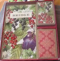 New BRIDGE CARDS& SCOREPADS GIFT SET Or WINE TRIVIA CARDS & 2UP