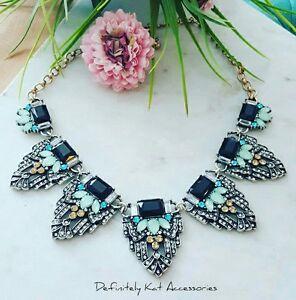Stunning coloured & black crystal gatsby vintage art deco  statement necklace