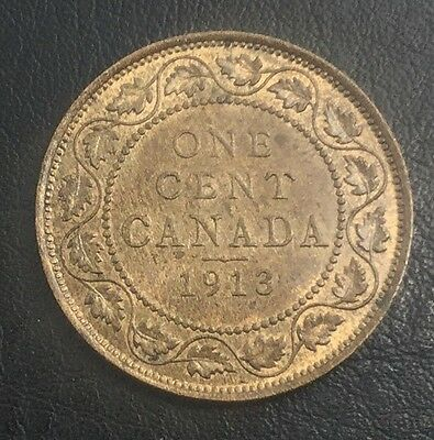 CANADA 1913  LARGE CENT GEORGE V NICE COIN LUSTROUS BROWN