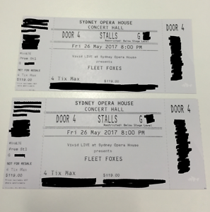 2 x FLEET FOXES TONIGHT FRIDAY MAY 26 GREAT SEATS (ROW G) Sydney City Inner Sydney Preview