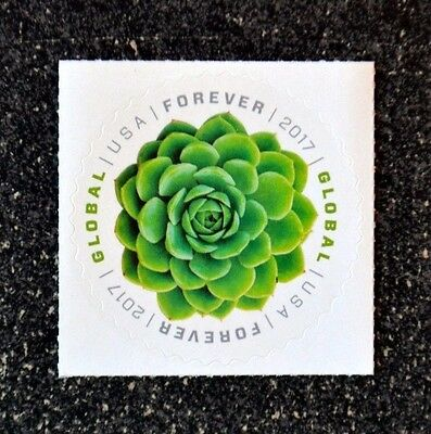 2017Usa Global Forever Rate   Green Succulent   Single Mint  International Sase