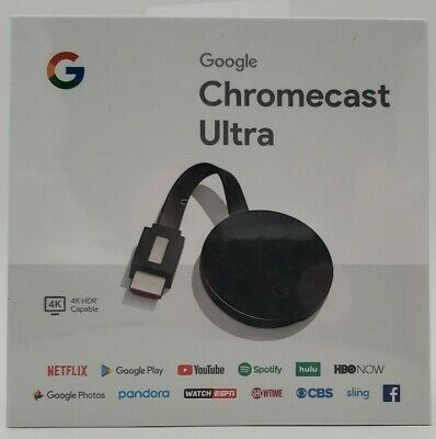 Google Chromecast Ultra 4K HDR Digital Media Streamer Black NIB
