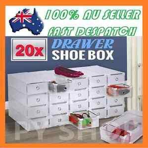 20PCS Storage Clear Drawer Shoe Boxes Stackable Foldable Shoe Case Home Wardrobe