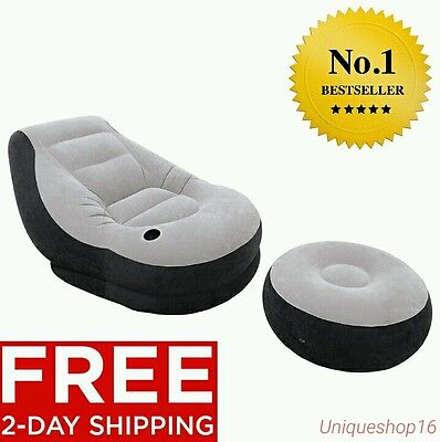 INTEX INFLATABLE ULTRA LOUNGE AND OTTOMAN LARGE VIDEO GAMING CHAIR SEAT BEAN BAG ()