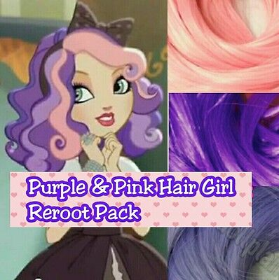 Ever After High Pink & Purple Hair Girl Doll Re-root Pack Nylon Hair Kit 4 OOAK