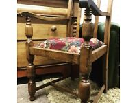 Vintage antique cottage style carved oak wood side chair