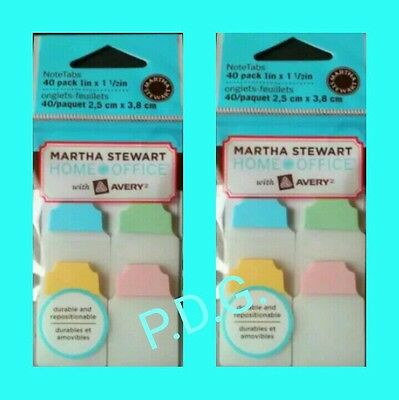 Lot Of 2packsmartha Stewart Office Pastel Notetabs Flag Note Tabs 40ct Avery