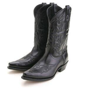 Laredo-Mens-Hawk-12-Black-Leather-Cowboy-Western-Boots-6860