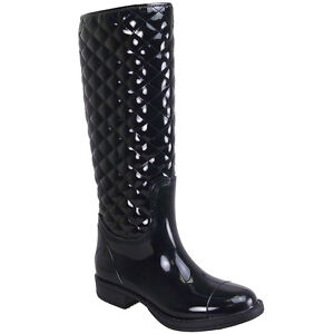 WOMENS-BLACK-LADIES-QUILTED-WELLINGTON-BOOT-WELLIES-3-8